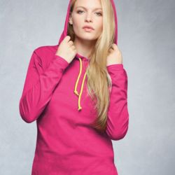 887L Ladies' Lightweight Long Sleeve Hooded T-Shirt Thumbnail